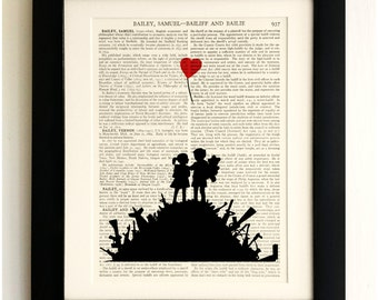 ART PRINT on old antique book page - Banksy, Kids on Guns Hill, Vintage Upcycled Wall Art Print, Encyclopaedia Dictionary Page