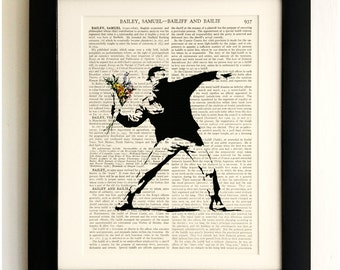 ART PRINT on old antique book page - Banksy, Flower Thrower, Vintage Upcycled Wall Art Print, Encyclopaedia Dictionary Page