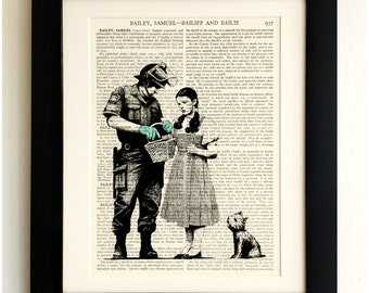 ART PRINT on old antique book page - Banksy, Dorothy Police Search, Vintage Upcycled Wall Art Print, Encyclopaedia Dictionary Page