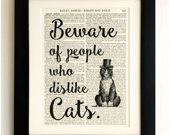 ART PRINT on old antique book page - Cat Quote, Beware of people who dislike Cats, Vintage Wall Art Print, Encyclopaedia Dictionary Page