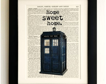 ART PRINT on old antique book page - The Tardis, Home Sweet Home, Doctor Who, Vintage Upcycled Wall Art Print, Encyclopaedia Dictionary Page