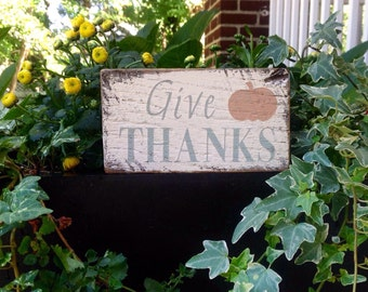 Give thanks - handmade rustic box sign