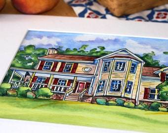 Custom House Watercolor and Ink Painting Portrait From a Photo