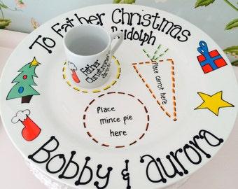 Christmas Eve Treats Santa Plate for Santa/Father Christmas & Rudolph's treats with special mini mug for Santa's drink - XMAS DESIGN