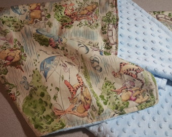 Winnie the Pooh Minky Blanket / Handmade Baby Toddler Child Shower Gift / Gender Neutral Boy Girl / Tigger Piglet Friends