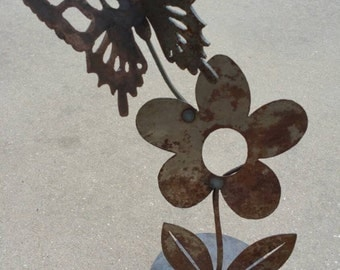 Metal butterfly garden art