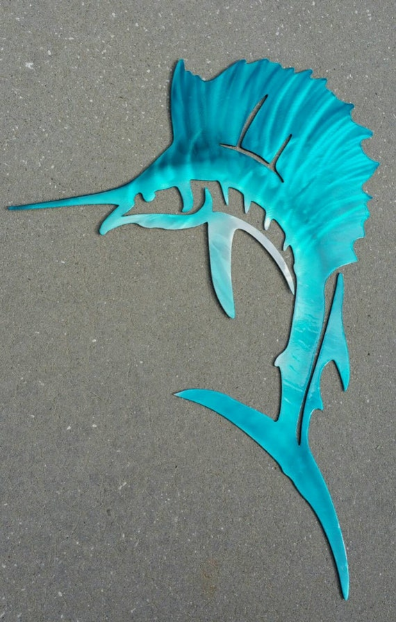 Sailfish metal art in aluminum
