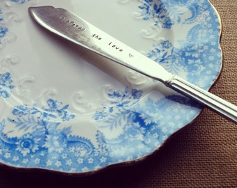Spread the Love Hand Stamped Vintage Jam, Butter or Marmalade Knife