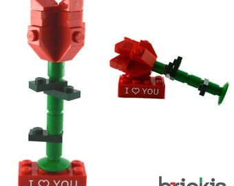 LEGO® rose I love You engraved personalized valentine mother's day