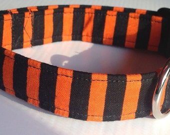 Black and Orange Striped Halloween Collar for Dogs and Cats