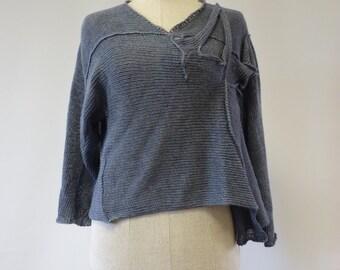 Sale, new price 50 EUR, original price 74 EUR.Irregular silver blue short linen sweater, M size.