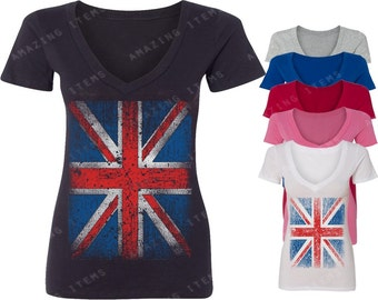 Vintage British Flag Women's V-neck T-shirt Union Jack Shirts