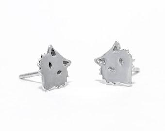 Sterling silver Fox stud earrings