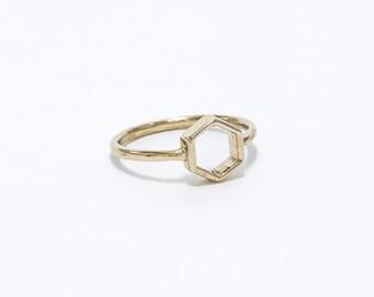 White Bronze Hexagon ring