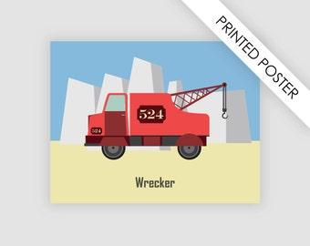 Wrecker, tow truck, print poster, illustration kids bedroom, boys bedroom, nursery, baby wall decor, truck vehicle poster, decoration
