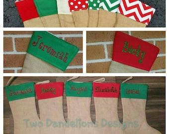 GREEN Personalized Burlap Christmas Stockings. Christmas, stocking, name, monogram.
