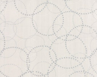 Modern Background Fabric from Zen Chic for Moda Fabrics. Graphite on Fog Grey XOXO Circles