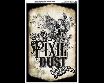 "Antique Apothecary Label - Collage Paper - Pixie Dust by StudioR12 - 10.5"" x 16.25""- CLPR250"