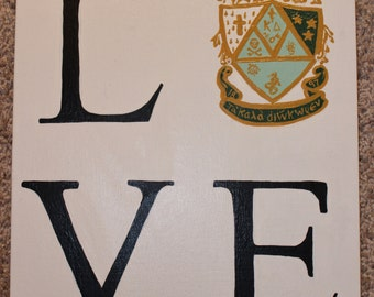 Sorority LOVE Crest Canvas Painting