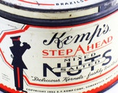 Tin, Kemps Salted Nuts, Food, 1950s, Marching Band, Vintage, Storage, Collectible