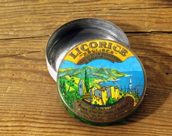 French Candy Tin, Licorice Drops, Metal, Round, Container, Storage, Home Decor Accent