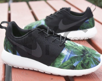 100% authentic c5e3c d17d8 ... Nike Roshe One Run Hawaiian Palm Trees V5 Edition Print Custom Men    Women ...