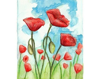 Original Poppy Painting By Meaghan Roberts
