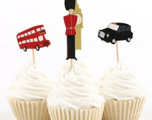 READY TO SHIP London Themed Cupcake Toppers, Big Ben Tower, Toppers, Picks, Cake Toppers, Cake Topper Pick, Cupcake Picks, Birthday, Baby