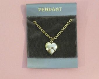 "Vintage Goldtone Heart Pendant Necklace fits 10"" to 12"" Doll (Jill, Miss Revlon, Barbie, or Tammy Size)"