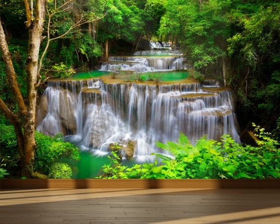 Wall Mural Waterfall In Deep Forest Peel And Stick