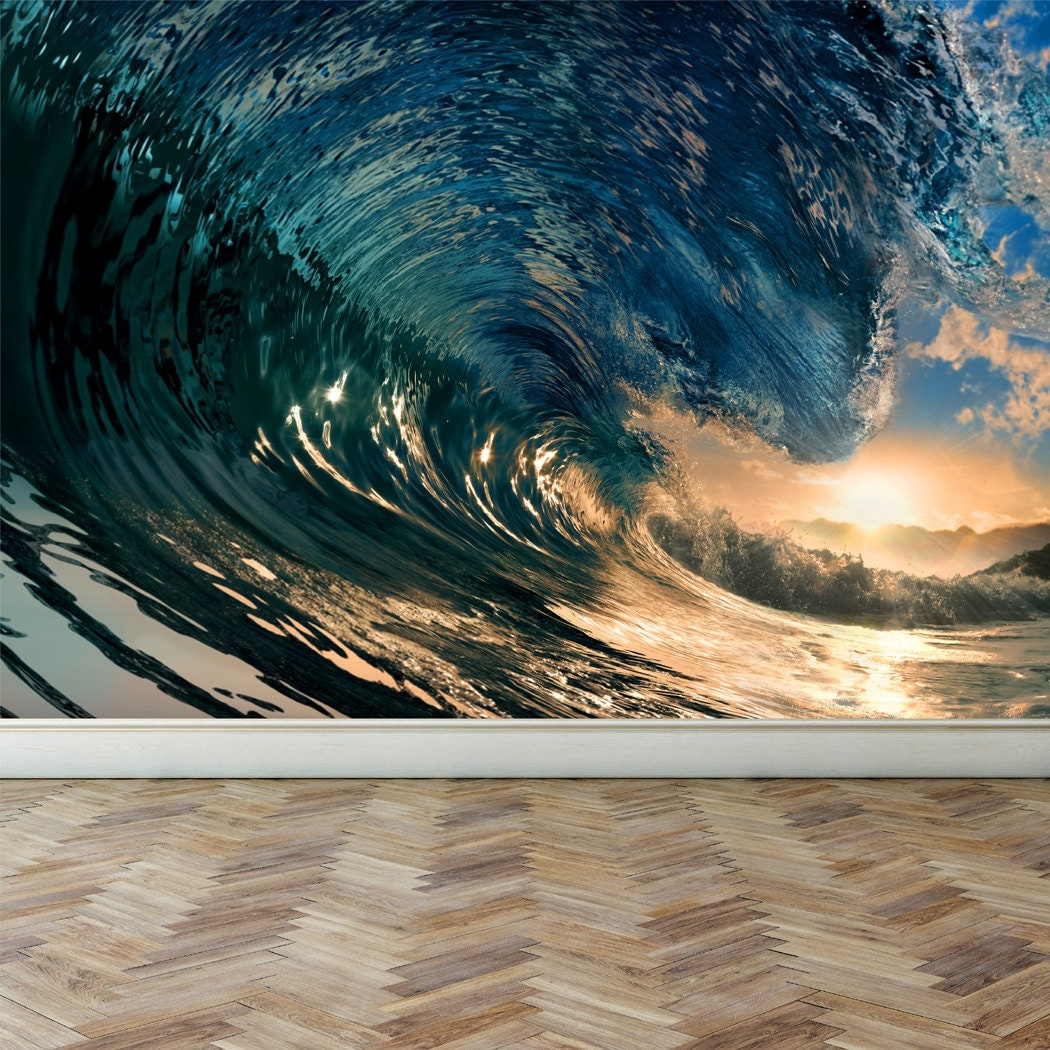 wall mural ocean wave peel and stick repositionable fabric ideal decor 144 in w x 100 in h the perfect wave wall