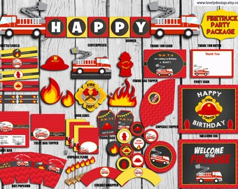 Firefighter Party Package INSTANT DOWNLOAD,Fire Truck Party Decor,Firetruck Birthday,Firetruck Party Supplies,Fireman