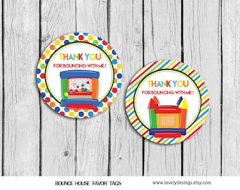 Bounce House Bouncing Favor Tags Instant DOWNLOAD, Jump Birthday Party, Party Favors PRINTABLE DIY