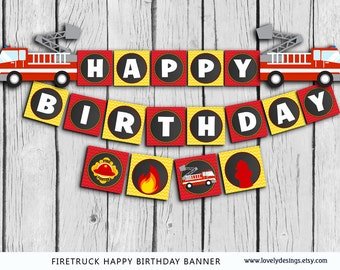 Fire truck Banner, INSTANT DOWNLOAD Fightfihter Birthday banner, Firetruck party banner, Fireman Banner printable
