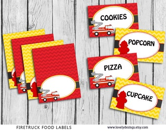 Fire Truck  FOOD Tent Labels BLANK , Firefighter Party Printable,favors DIY, Instant Download, Fireman Party Supplies
