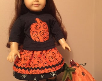 "Halloween skirt and top for the 18"" doll"