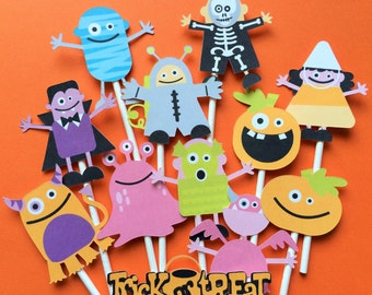 12 Halloween cupcake toppers, Halloween toppers, Halloween party cake toppers, costume party cupcake toppers for Halloween