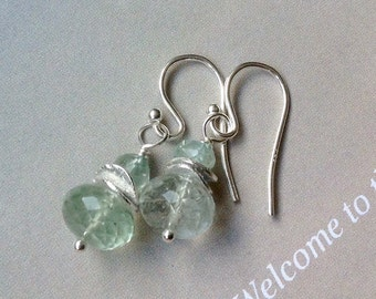 Aquamarine Earrings with Sterling Silver disks - blue gemstone, March birthstone, natural gemstone, aquamarine earrings