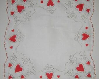 Vintage Valentine Day  Heart Hankie/Hanky/Handkerchief