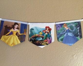 Disney Princess banner upcycled book