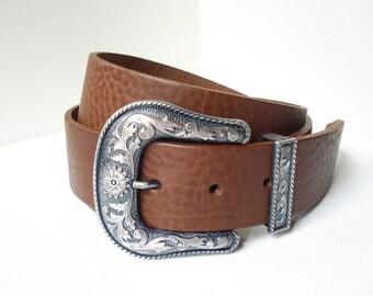 Western Leather Belt in Brown - Handmade in London - American Buckle - Western Buckle - Vintage Buckle - Cowboy Belt