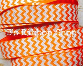 """7/8"""" Tangerine with White Glitter Chevron US Designer grosgrain ribbon"""