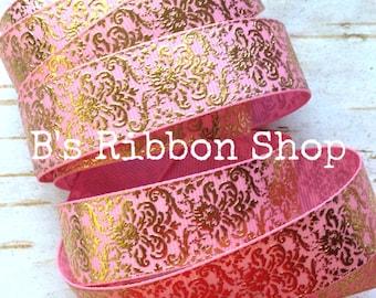 """7/8"""" Gold Foil Damask on Light Pink USDR grosgrain ribbon"""