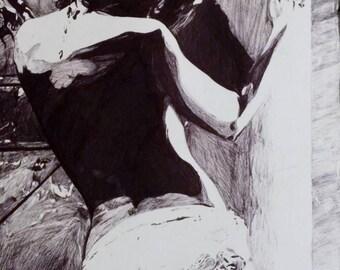 "Original pen drawing ""Modesty"""