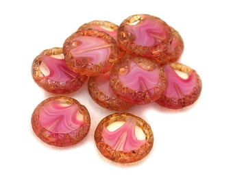 Crystal transparent pink white givre w/ picasso 16mm bordered discs. Set of 4, 5, 10 or 20.