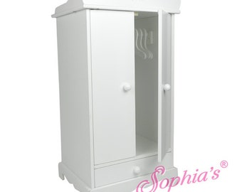 18″ Doll White hand painted doll armoire