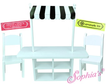 """Concession Table, Chairs & Set of 3 Banners for 18"""" dolls"""