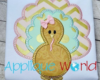 Scalloped Turkey Applique Embroidery-Instant Digital Download Design-Machine Applique Embroidery Design-Kids Applique Pattern. Fall Turkey.