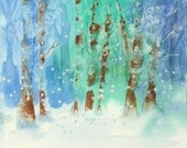 Wintertime Forest Original Watercolor Artist Painting Home Decor Framed Fine Art Abstract Landscape Watercolors Painting