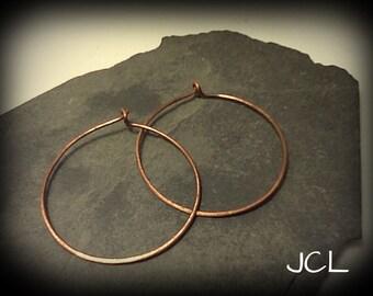 """Copper wire hoop earrings - 1 1/2"""""""